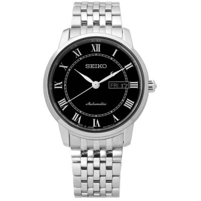 SEIKO 精工 PRESAGE 自動上鍊 藍寶石水晶 不鏽鋼機械手錶-黑/39mm