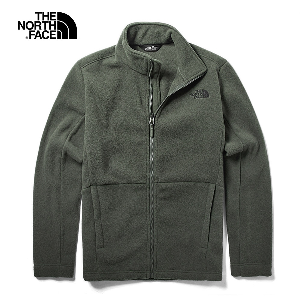 The North Face北面男款灰綠色保暖抓絨外套|CTT721L