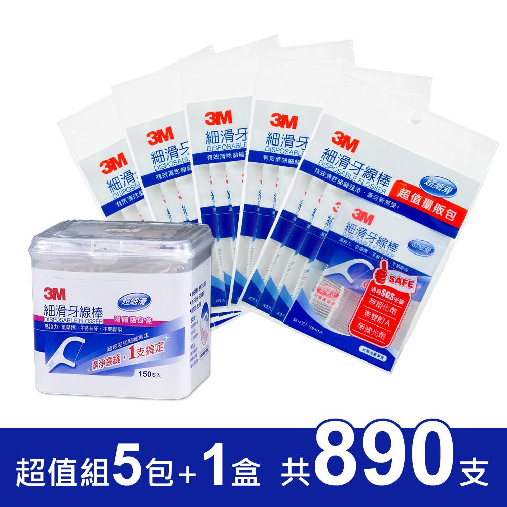 3M 細滑牙線棒1盒+5包超值組 (共890支)