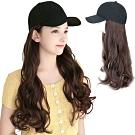幸福揚邑 棒球帽大波浪長卷髮美拍直播顯瘦造型必備假髮帽-淺棕黑帽
