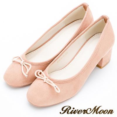 River&Moon復古高雅-小朵結絨料方頭低跟鞋-裸膚米