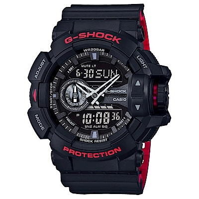 G-SHOCK 絕對強悍經典雙顯運動錶(GA-400HR-1A)-紅黑/51.9mm