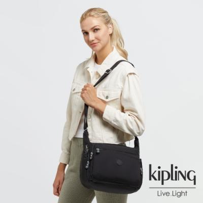 Kipling 經典深黑色多袋實用側背包-GABBIE