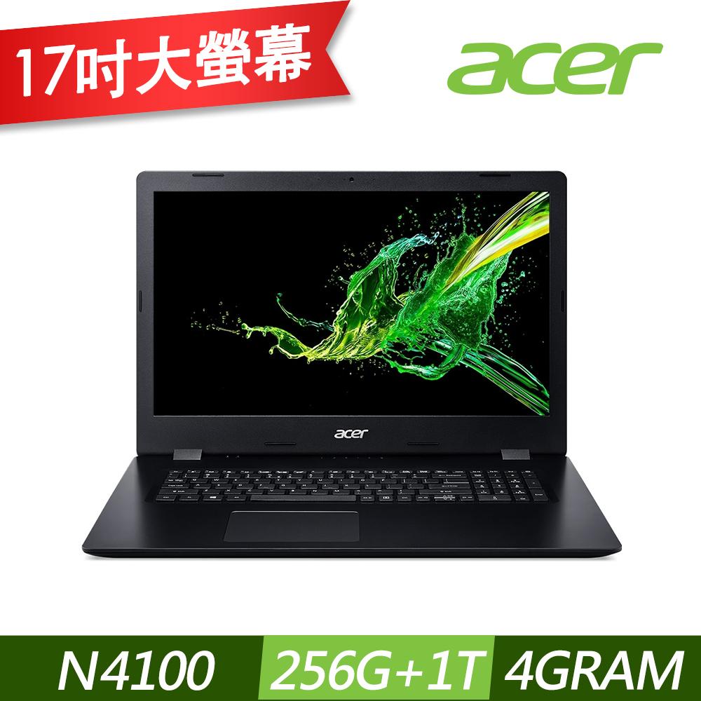 Acer A317-32-C9FF 17吋筆電(N4100/4G/256G SSD+1TB/Aspire 3/黑)