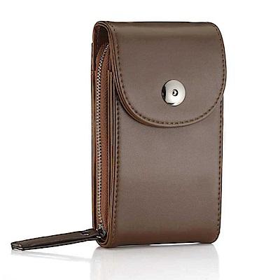 iSPurple 硬式皮革 卡片手機零錢側背包 咖