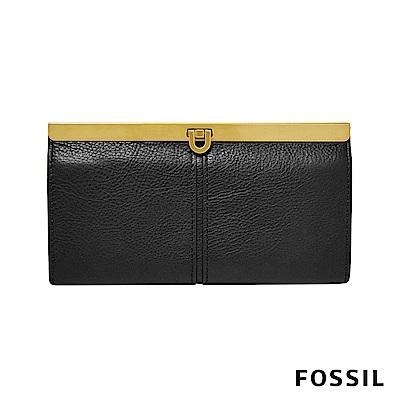 FOSSIL KAYLA 馬蹄型扣式手拿包-黑色