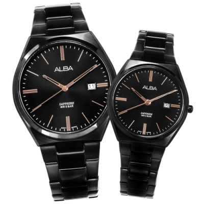 ALBA 藍寶石水晶玻璃 日期 不鏽鋼手錶 情人對錶-鍍黑/41mm+30mm