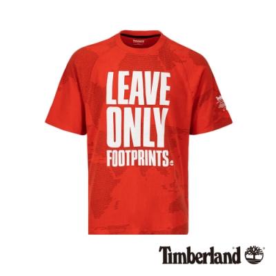 Timberland 男款極光紅寬鬆剪裁標語短袖T恤|A1X4W