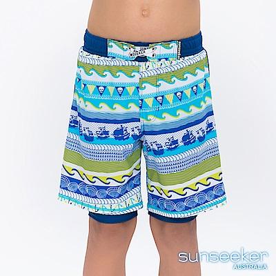 澳洲Sunseeker抗UV防曬雙層海灘褲泳褲-大男童/Yellow