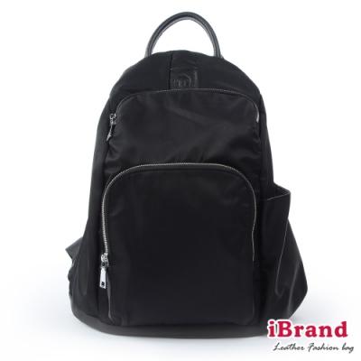 iBrand後背包 率性時尚後開式防盜尼龍後背包(M)-百搭黑