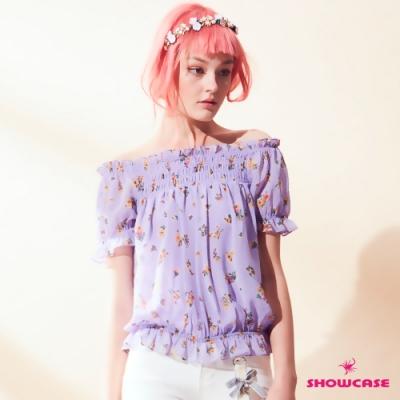 【SHOWCASE】小花朵荷葉露肩縮衣(紫)