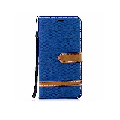 PKG 小米POCOPHONE F1 側翻式皮套-精選皮套系列-牛仔布時尚百搭款-寶藍