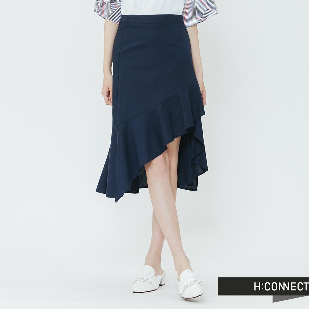 H:CONNECT 韓國品牌 女裝-荷葉裙擺中長裙-藍