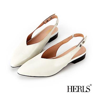 HERLS 全真皮 雙釦後帶尖頭低跟涼鞋-白色