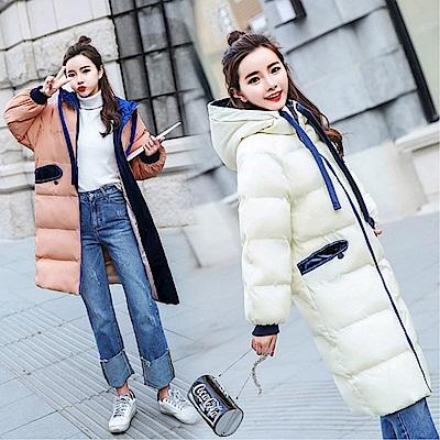 DABI韓國風連帽過膝長版保暖單品外套