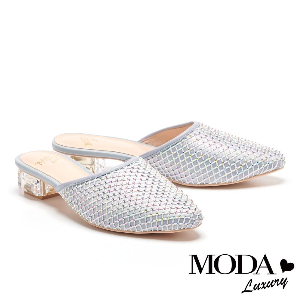拖鞋 MODA Luxury 別致時髦異材質堆疊穆勒低跟拖鞋-藍