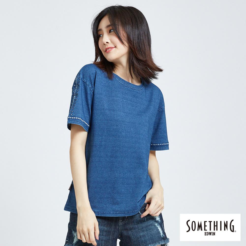 SOMETHING 刺繡圖騰圓領T恤-女-漂淺藍