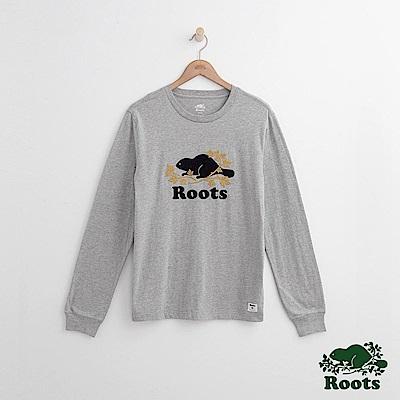Roots 男裝- 周年系列 庫柏楓葉長袖T恤-灰