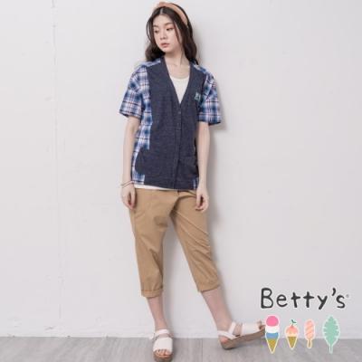 betty's貝蒂思 V領開襟拼接格紋上衣(深藍)