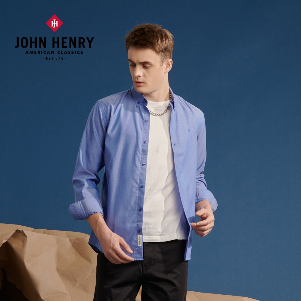 【JOHN HENRY】極簡造型百搭長袖襯衫-兩色選