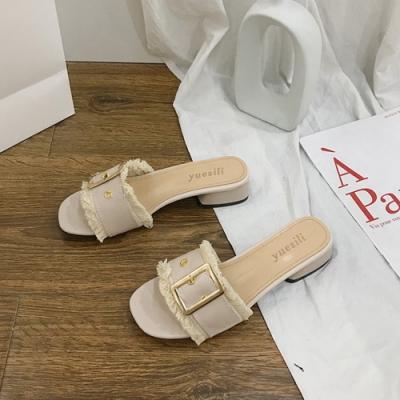 KEITH-WILL時尚鞋館 歐美流蘇粗跟涼拖鞋-米