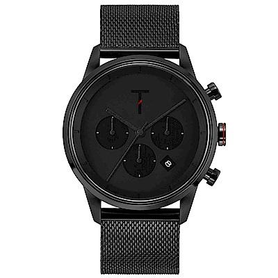 TYLOR 風尚米蘭帶三眼計時手錶-黑/43mm