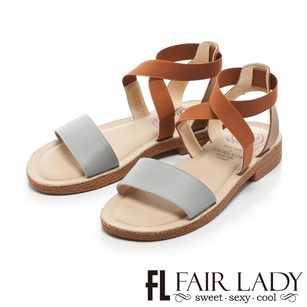 FAIR LADY 盛夏 時尚配色一字寬帶涼鞋 藍