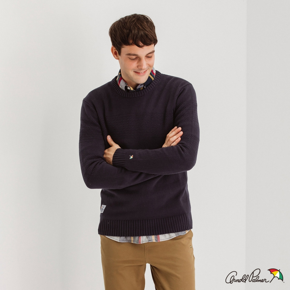 Arnold Palmer -男裝-圓領緹織配條休閒針織衫-深藍色
