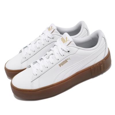 Puma 休閒鞋 Smash Platform v2 L 女鞋 皮革鞋面 膠底 穿搭推薦 百搭 復古 白 棕 37303508