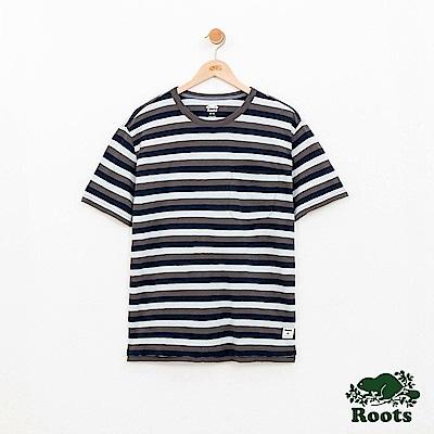 男裝Roots 條紋短袖T恤-藍