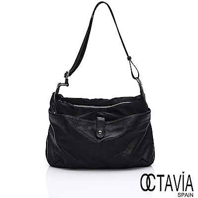 OCTAVIA 8真皮 - 閱讀IV 牛皮與尼龍雙料多夾層肩斜二用萬用包 - 伴讀黑