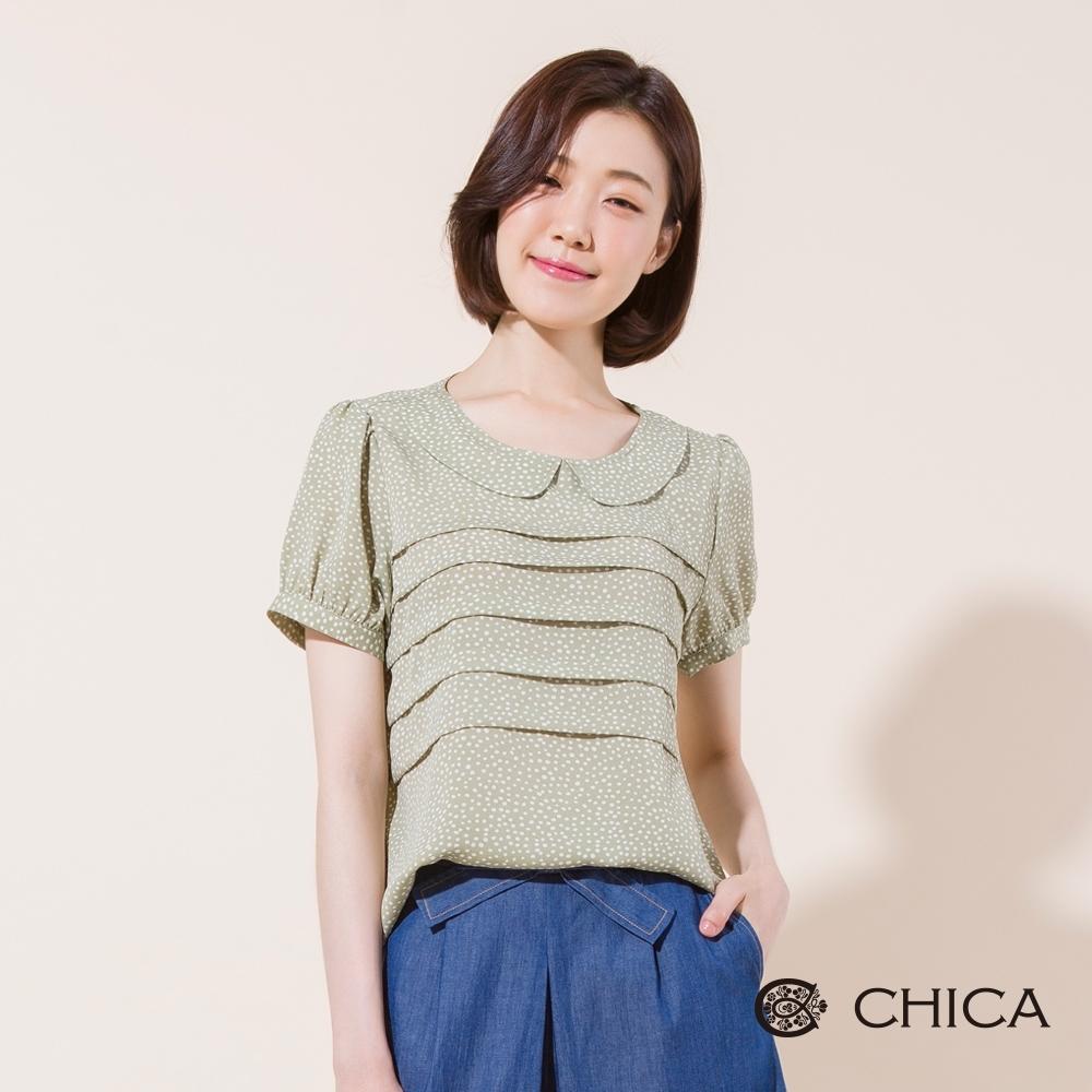 CHICA 法式復古點點小圓領短袖上衣(2色)