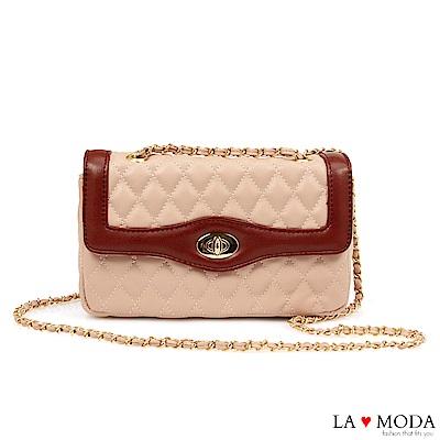 La Moda 約會不敗款經典小香風菱格紋旋釦鍊條小包(粉)
