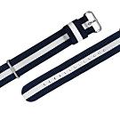 Watchband DW 各品牌通用 不鏽鋼扣頭 尼龍錶帶-藍x白