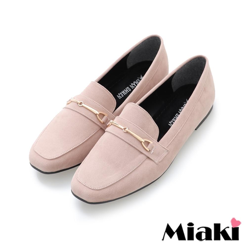 Miaki-樂福鞋素面絨料低跟通勤鞋-卡其絨