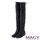 MAGY 展現獨特風采 後邊綁帶鞋跟金屬條飾膝上靴-黑色
