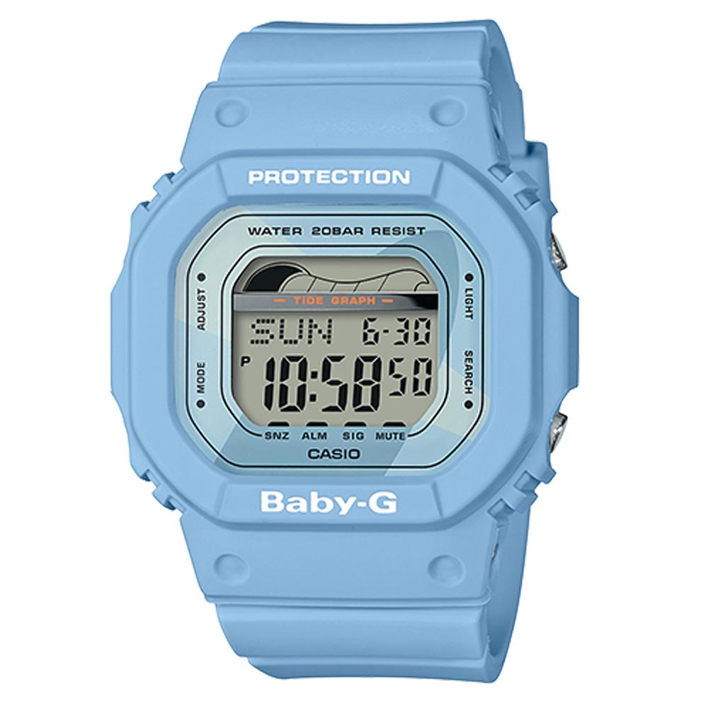 BABY-G復刻經典衝浪板海灘活動設計潮汐月相休閒錶(BLX-560-2)水藍40mm