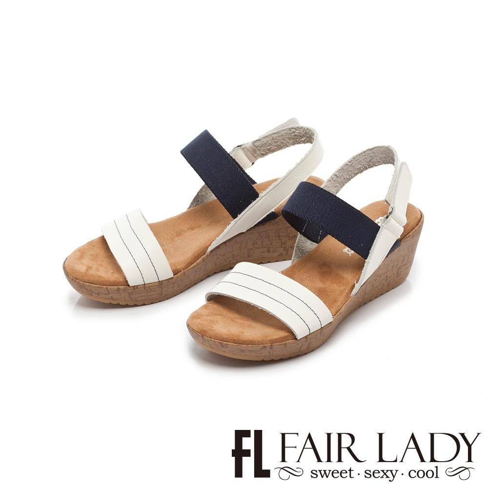 【FAIR LADY】Early Summer優雅漫步一字厚底波跟涼鞋 白