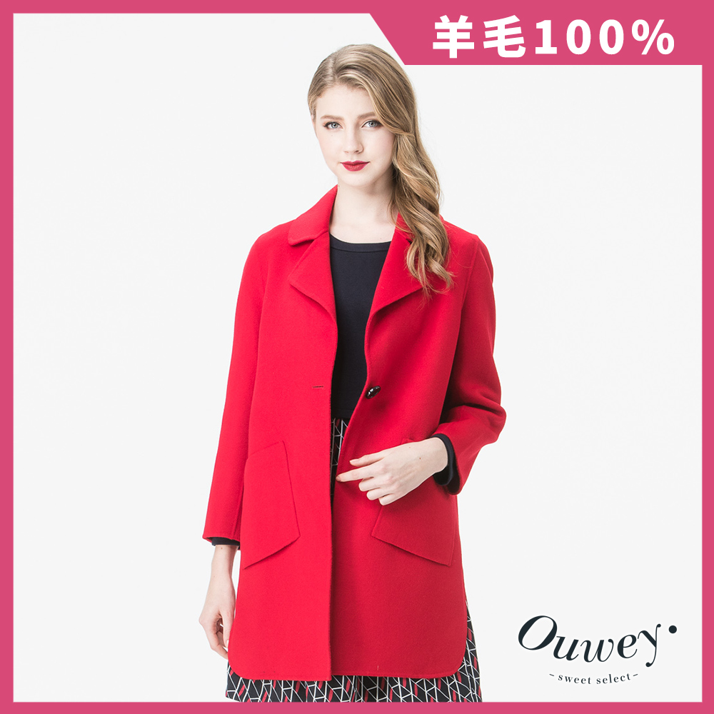 OUWEY歐薇 西裝領直版雙面毛料外套(紅/藍) @ Y!購物