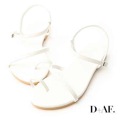 D+AF 盛夏百搭.套指斜帶繞踝平底涼鞋*白