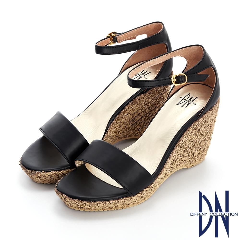 DN涼鞋_MIT素色拼接草編造型楔型涼鞋-黑