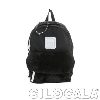 CILOCALA 限量版-亮彩尼龍毛毛防潑水後背包-黑色(中)