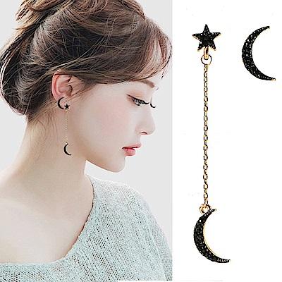梨花HaNA 無耳洞星月點綴不對稱流蘇耳環夾式