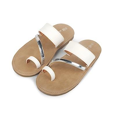 BuyGlasses 簡約夏日時尚感兒童拖鞋-白
