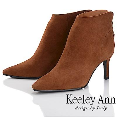 Keeley Ann 簡約百搭~百搭素面羊反絨皮尖頭中跟短靴(棕色-Ann)