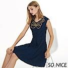 SO NICE優雅珠飾刺繡牛仔洋裝