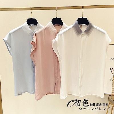 氣質翻領無袖雪紡上衣-共3色(M-XL可選)    初色