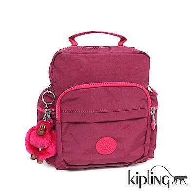 Kipling 後背包 莓紫素面-小
