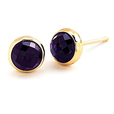 GORJANA 紫水晶深紫色玉石耳環 金色寶石耳環 Amethyst Studs