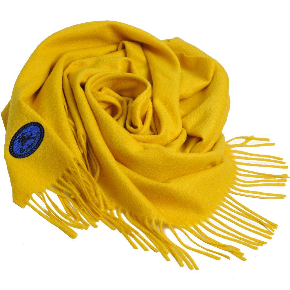 BURBERRY 經典品牌LOGO刺繡喀什米爾羊毛圍巾(芥末黃/168x30)